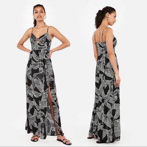 Printed Bustier Cut-Out Maxi Dress